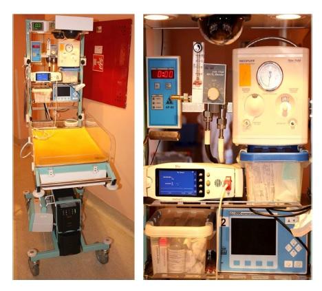 Resuscitační lůžko – mobilní vyhřívané zařízení vybavené zdrojem elektrické energie, medicinálními plyny a takéveškerými potřebnými přístroji, pomůckami a monitory.